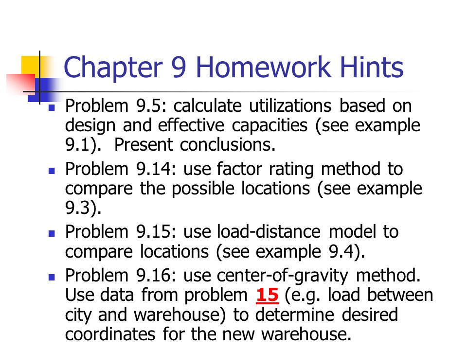 Chapter 9 Homework Hints