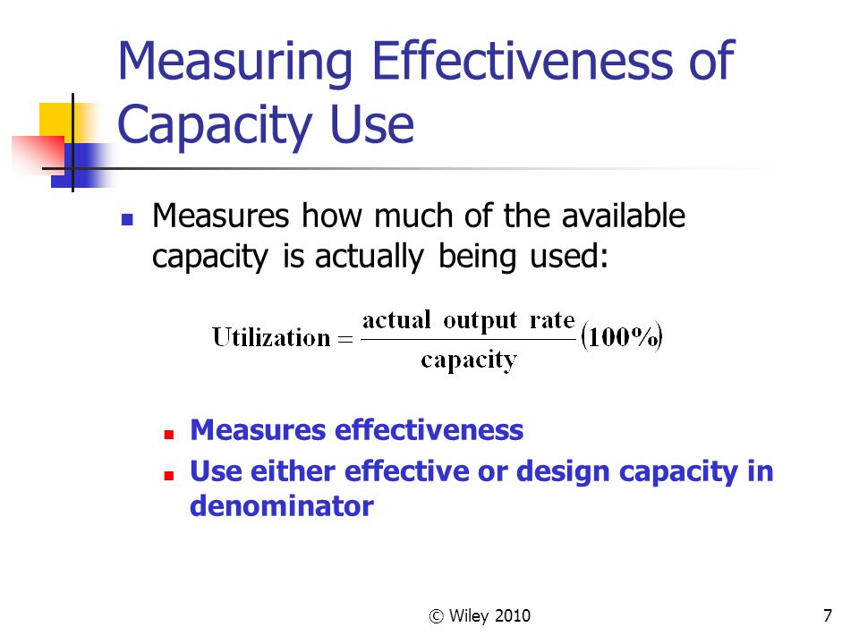 Measuring Effectiveness of Capacity Use