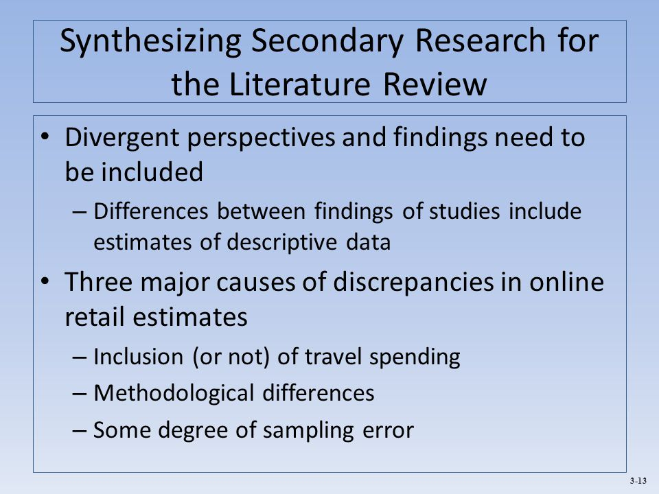 Synthesizing Secondary Research for the Literature Review