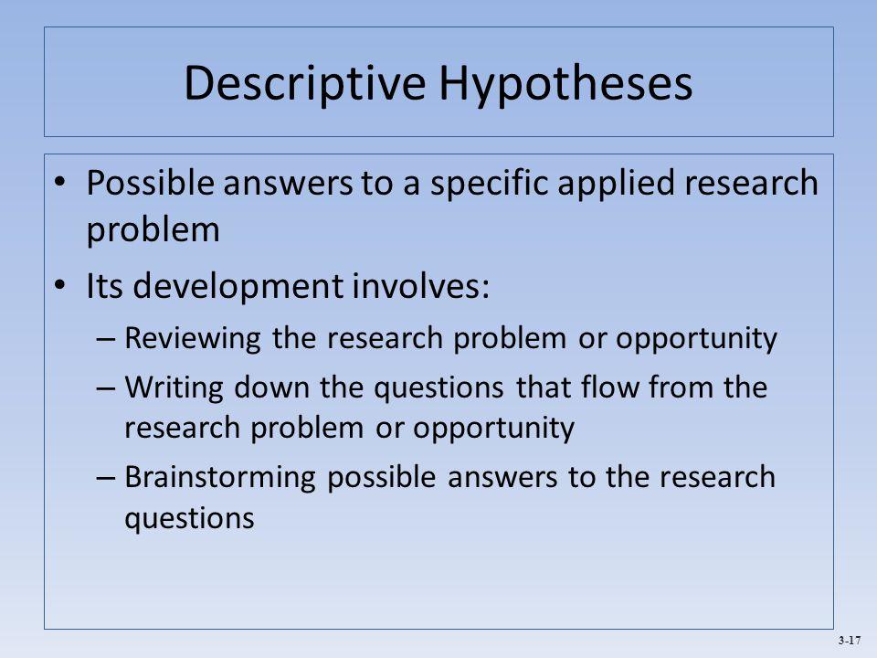 Descriptive Hypotheses