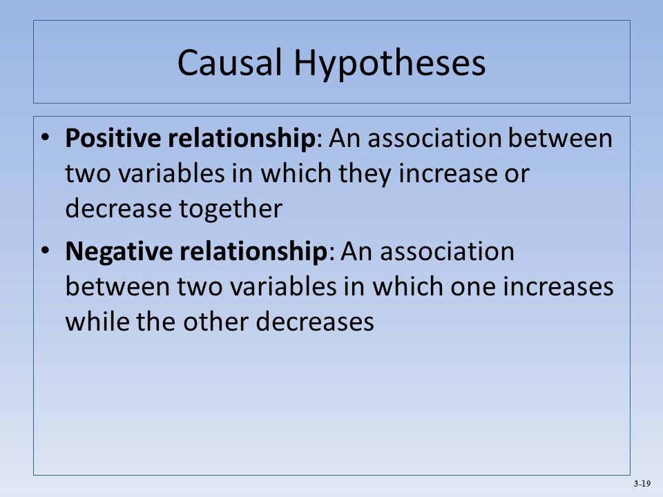 Causal Hypotheses Positive relationship: An association between two variables in which they increase or decrease together.
