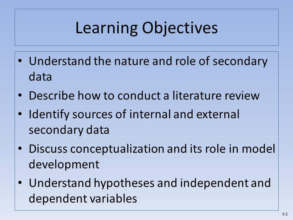 Learning Objectives Understand the nature and role of secondary data