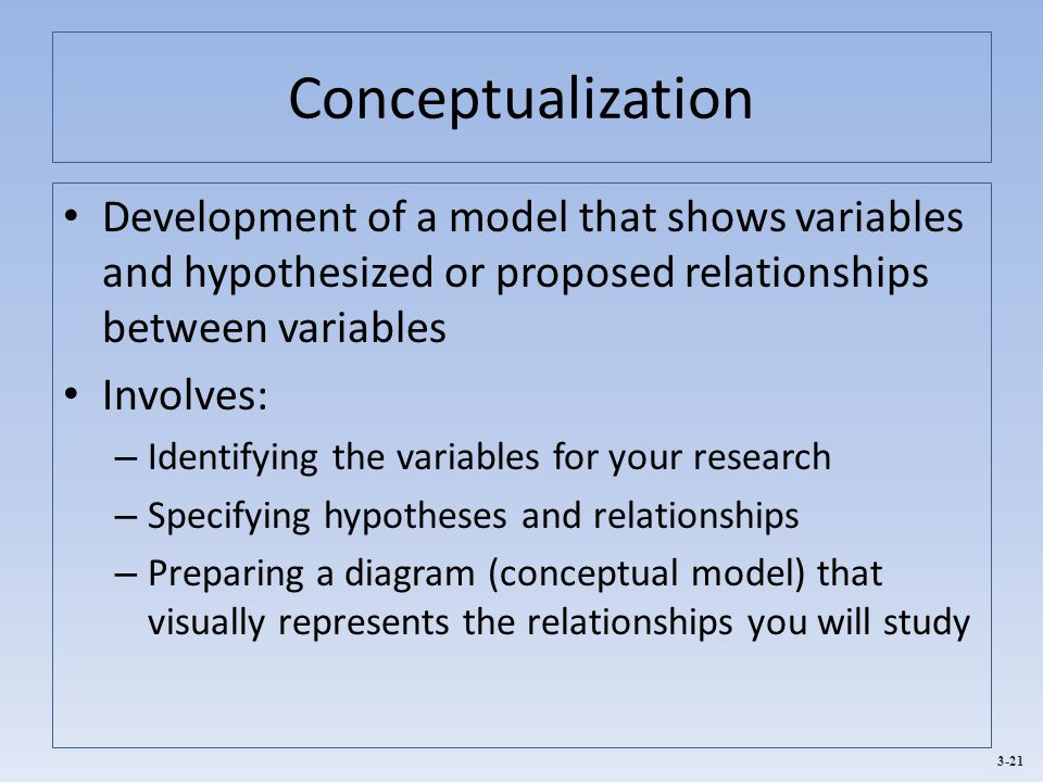 Conceptualization Development of a model that shows variables and hypothesized or proposed relationships between variables.