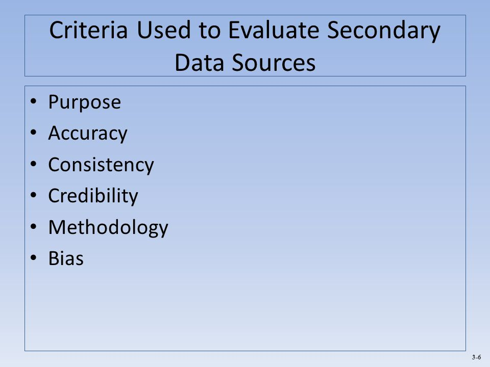 Criteria Used to Evaluate Secondary Data Sources