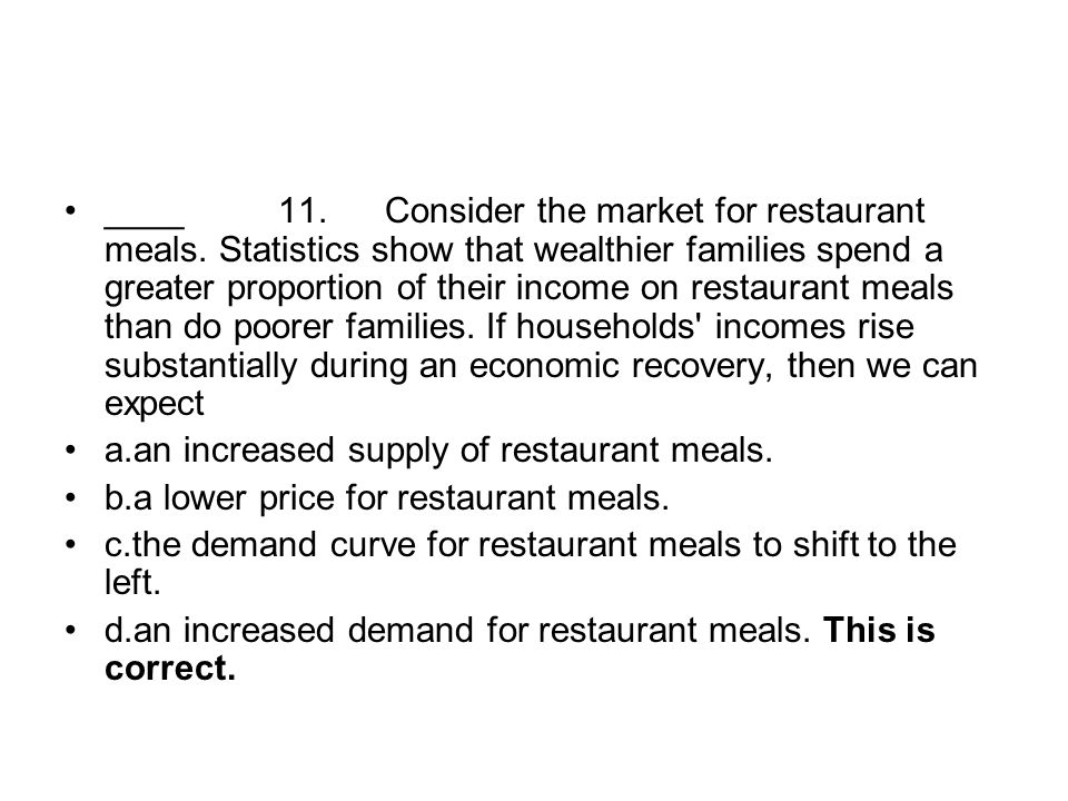 ____. 11. Consider the market for restaurant meals