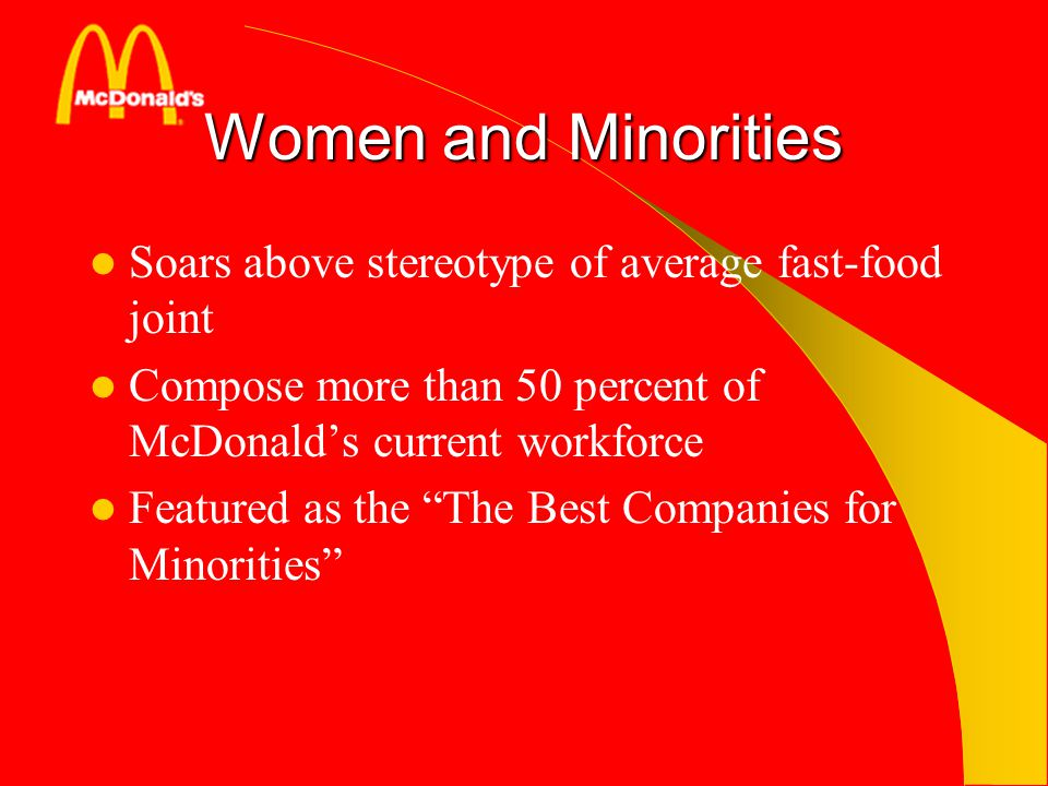 Women and Minorities Soars above stereotype of average fast-food joint