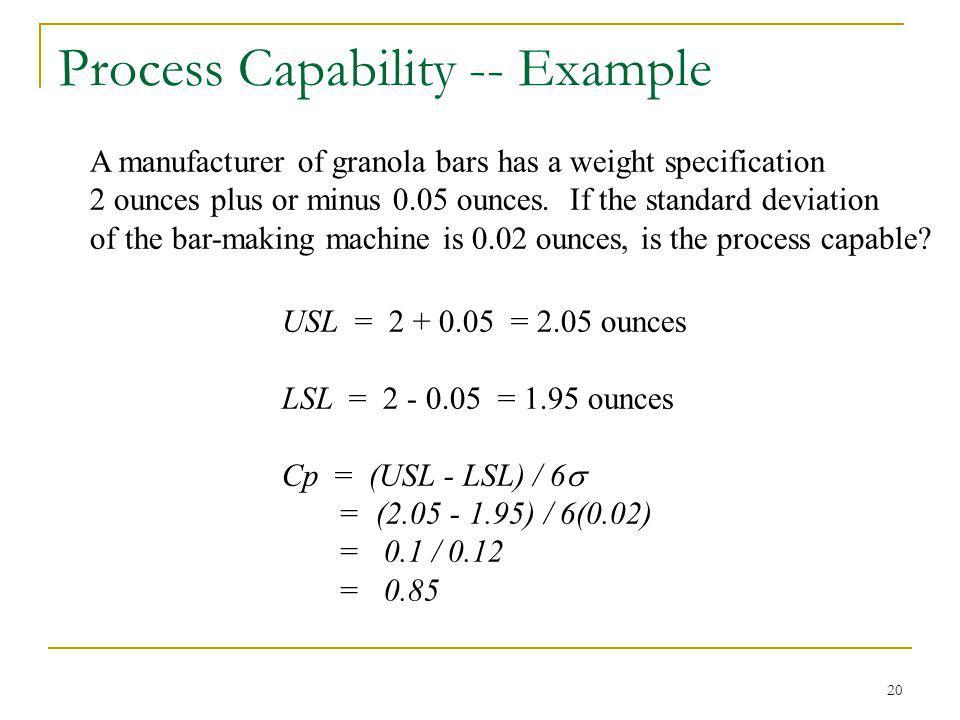 Process Capability -- Example