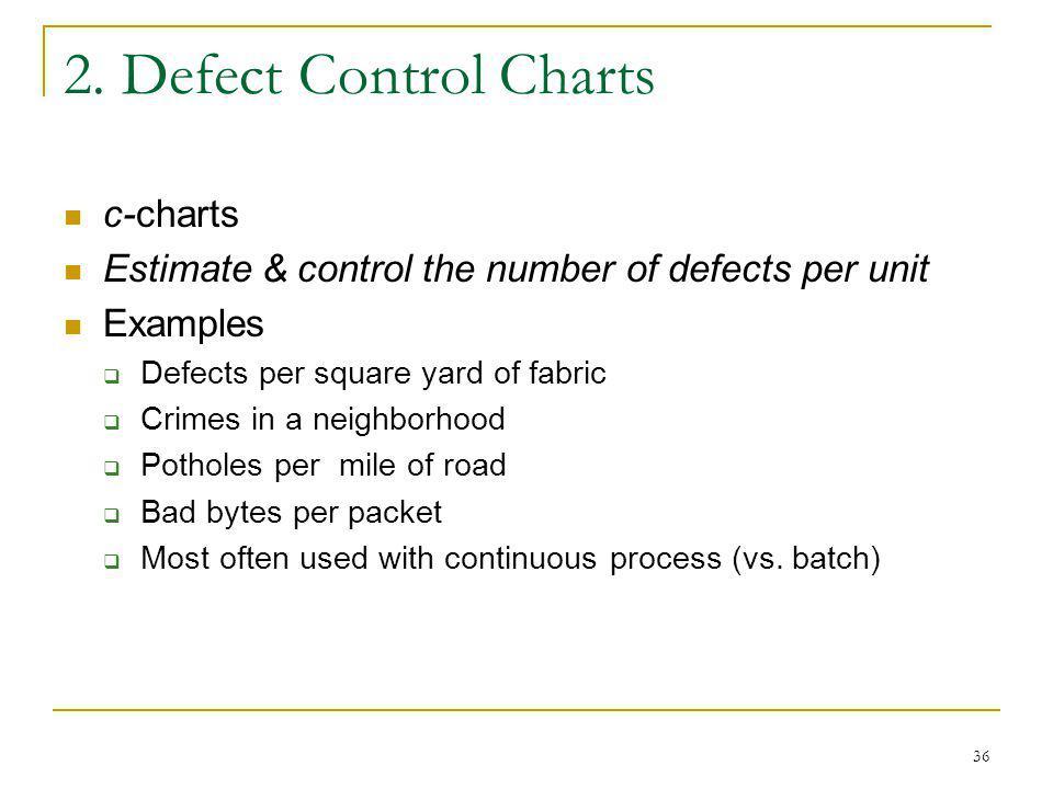 2. Defect Control Charts c-charts