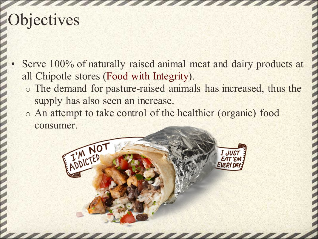 Objectives Serve 100% of naturally raised animal meat and dairy products at all Chipotle stores (Food with Integrity).