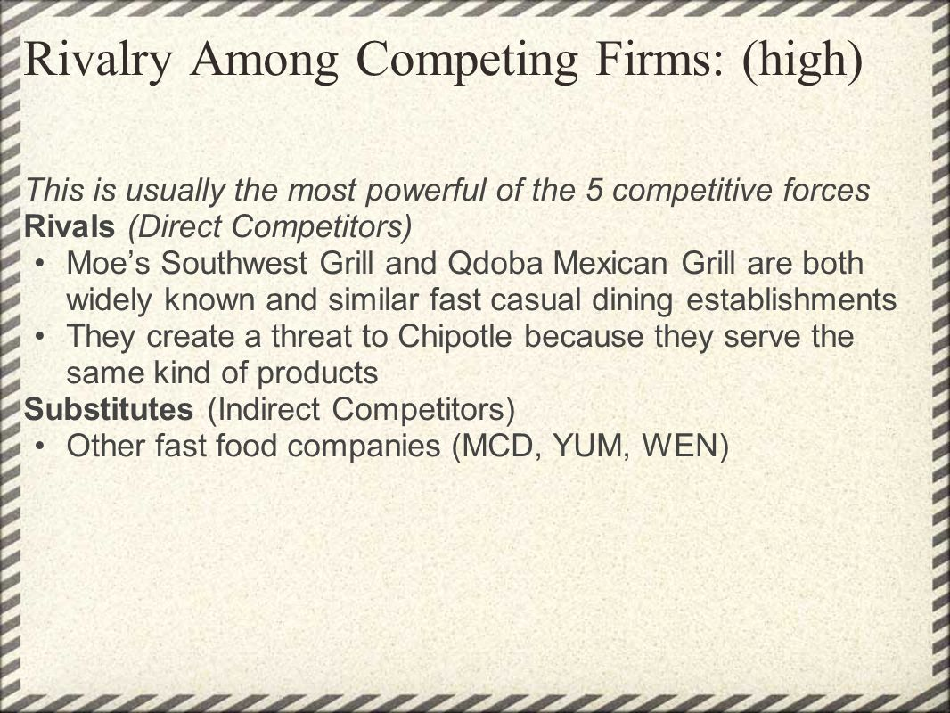 Rivalry Among Competing Firms: (high)