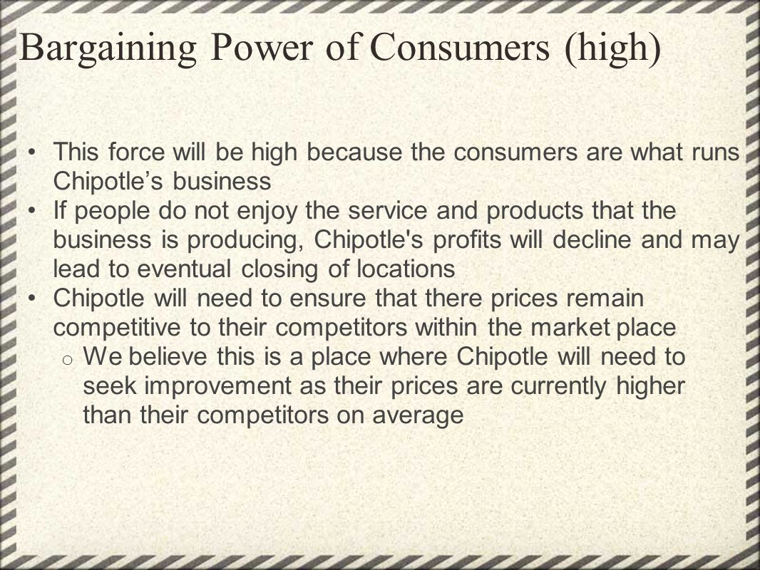 Bargaining Power of Consumers (high)