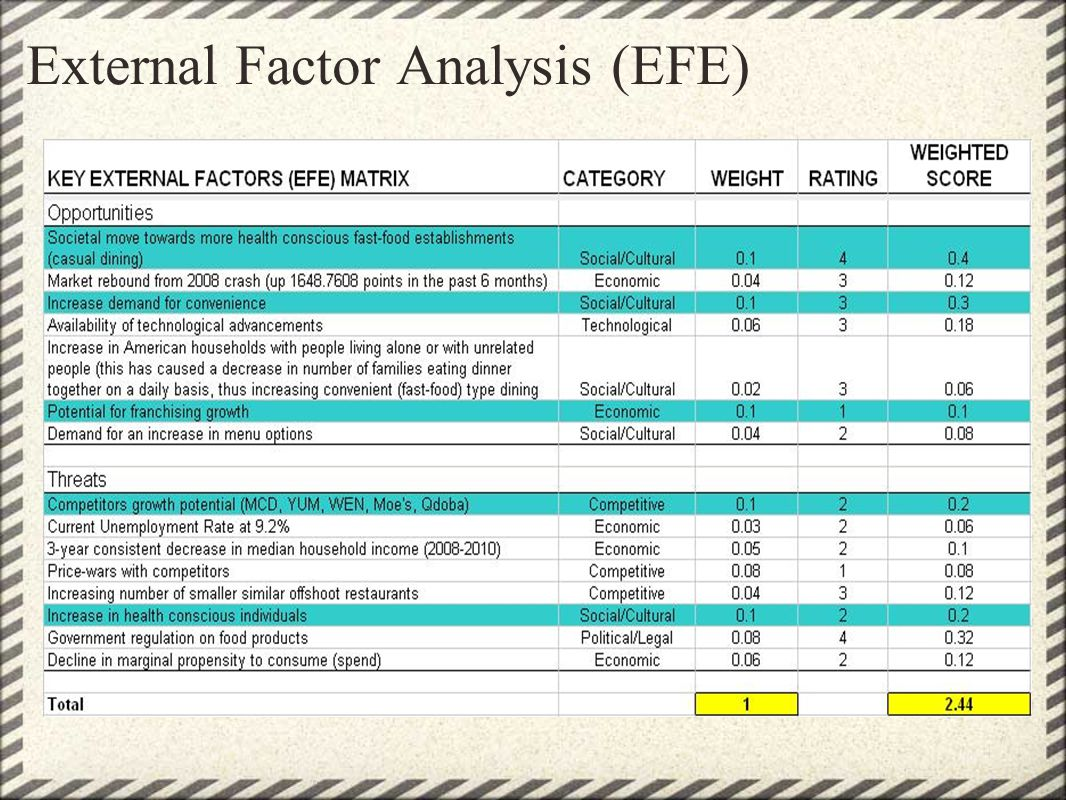 External Factor Analysis (EFE)