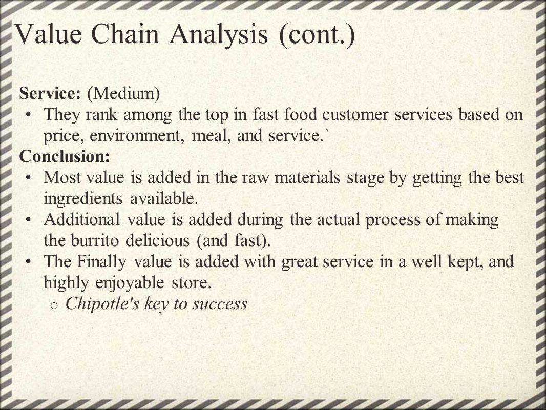 Value Chain Analysis (cont.)
