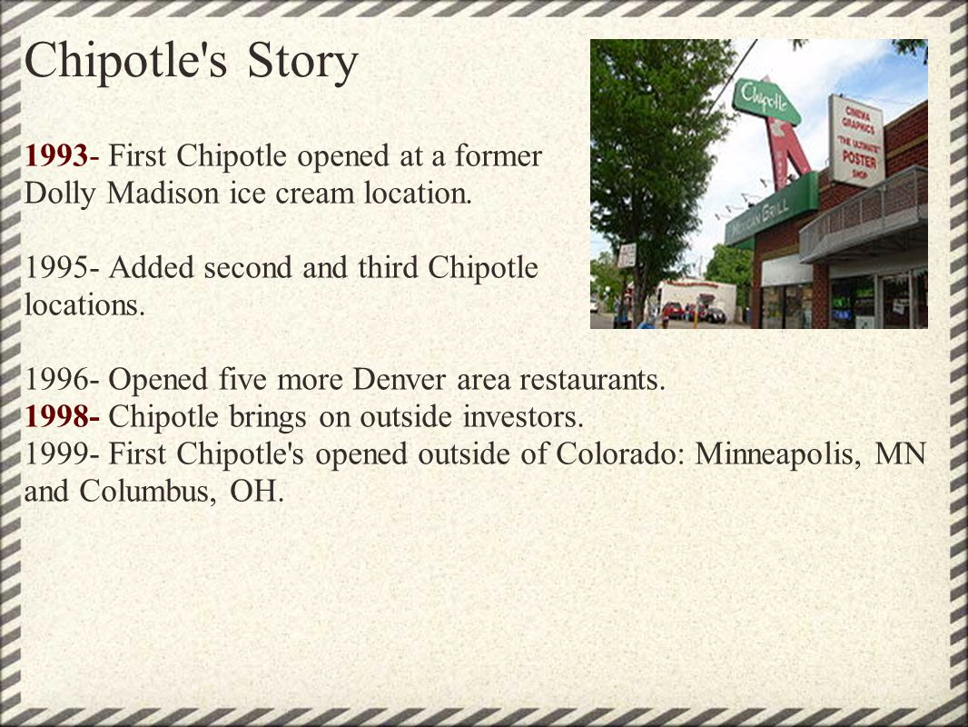 Chipotle s Story 1993- First Chipotle opened at a former