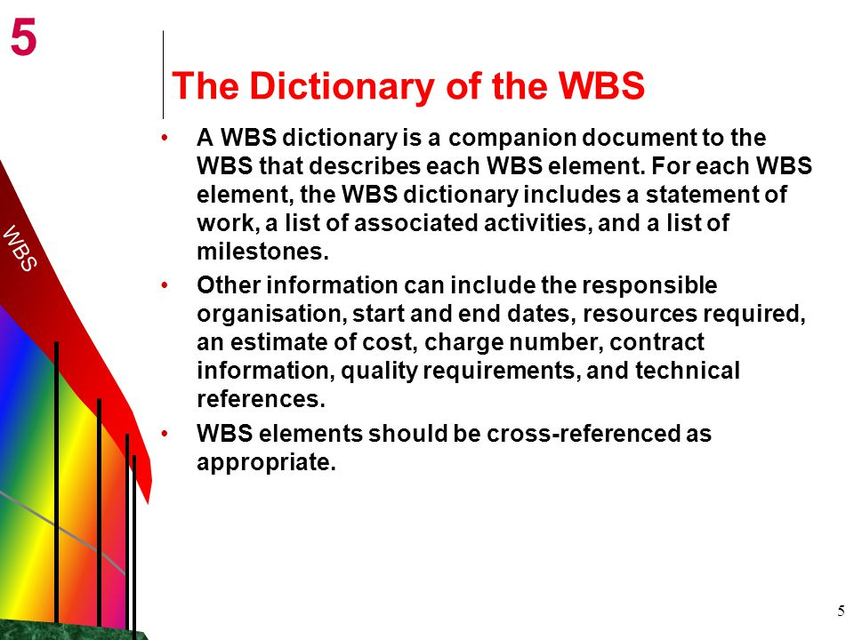 The Dictionary of the WBS