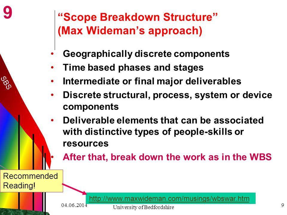 Scope Breakdown Structure (Max Wideman's approach)