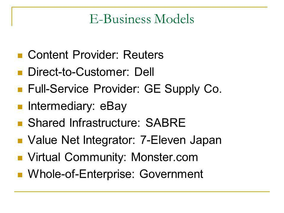 E-Business Models Content Provider: Reuters Direct-to-Customer: Dell