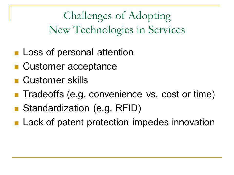 Challenges of Adopting New Technologies in Services