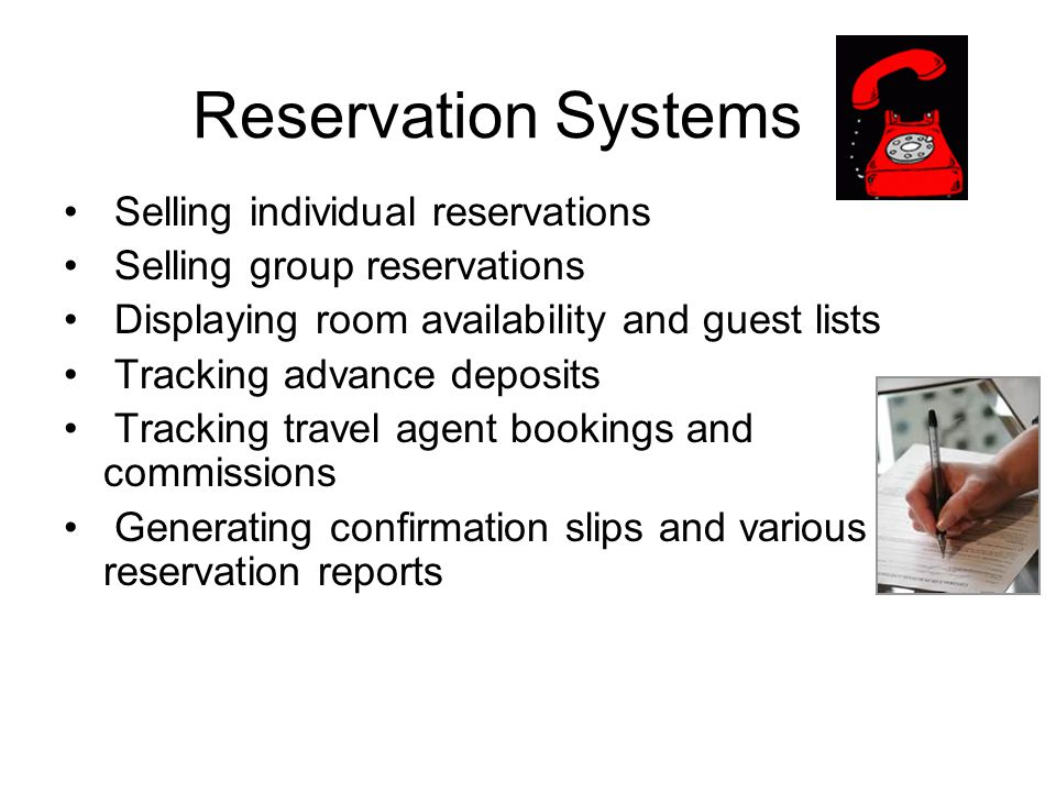Reservation Systems Selling individual reservations