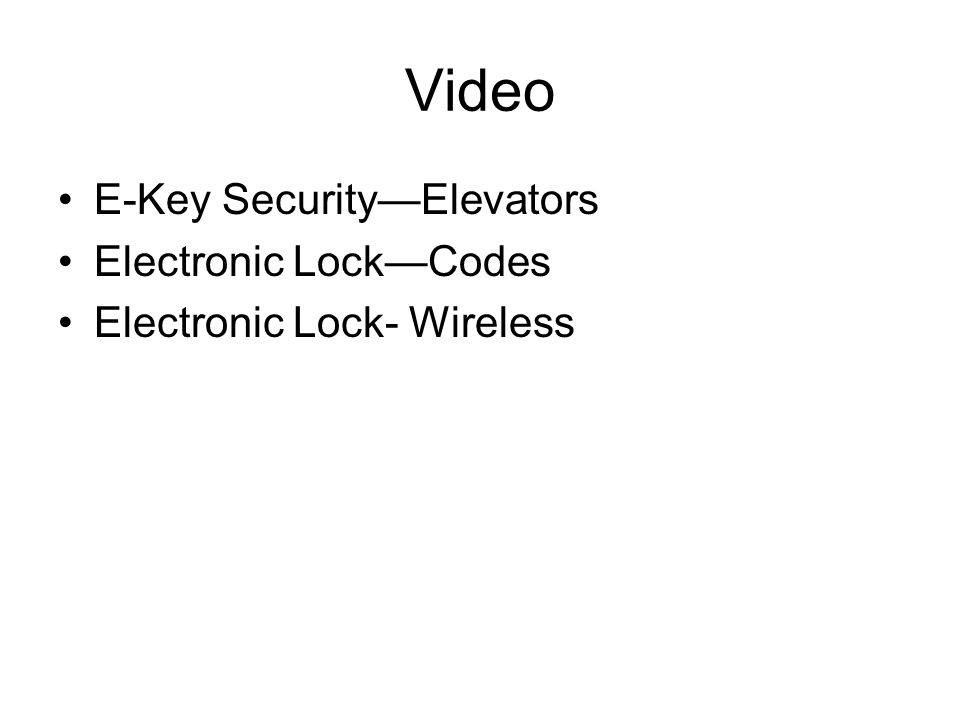 Video E-Key Security—Elevators Electronic Lock—Codes