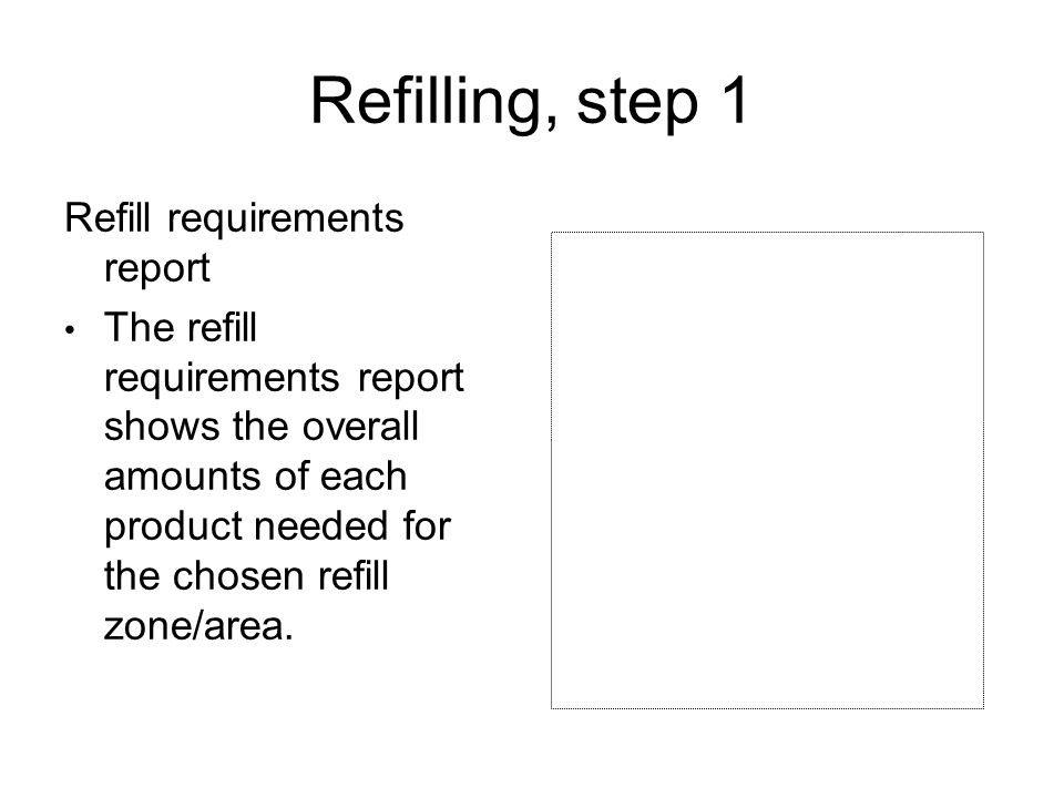 Refilling, step 1 Refill requirements report