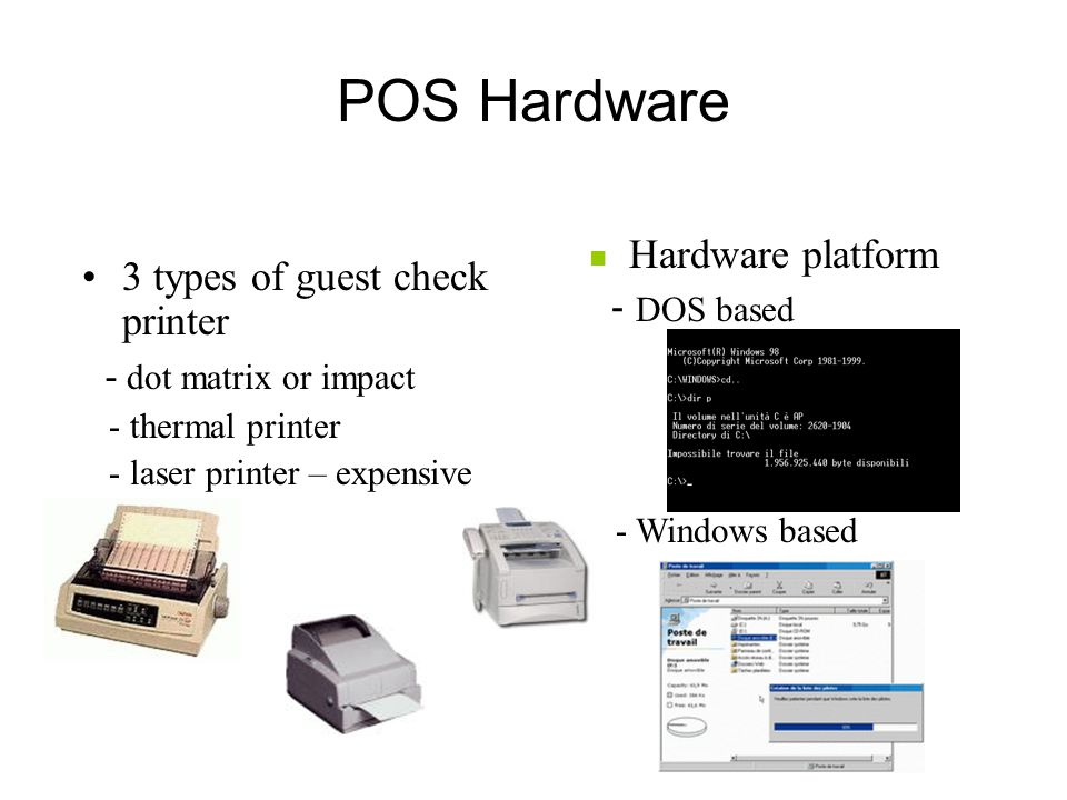 POS Hardware Hardware platform 3 types of guest check printer