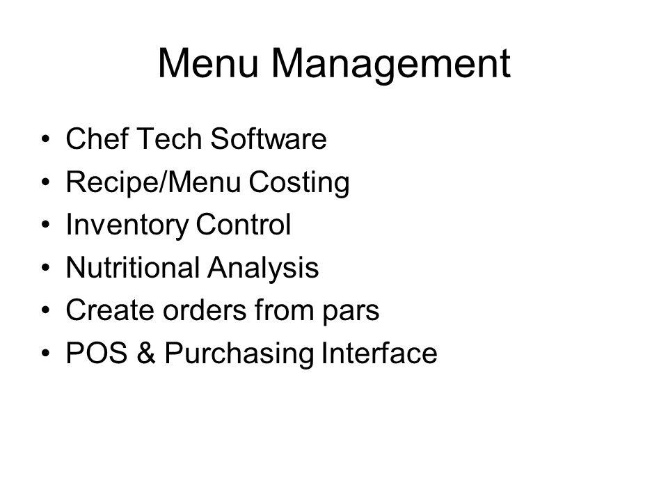 Menu Management Chef Tech Software Recipe/Menu Costing