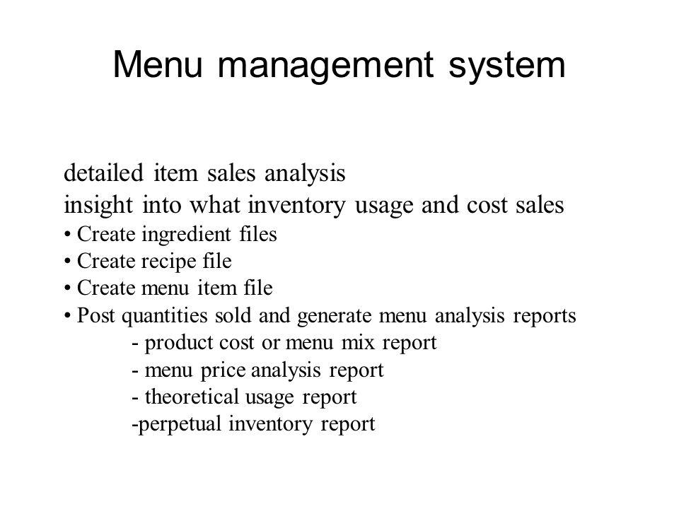 Menu management system