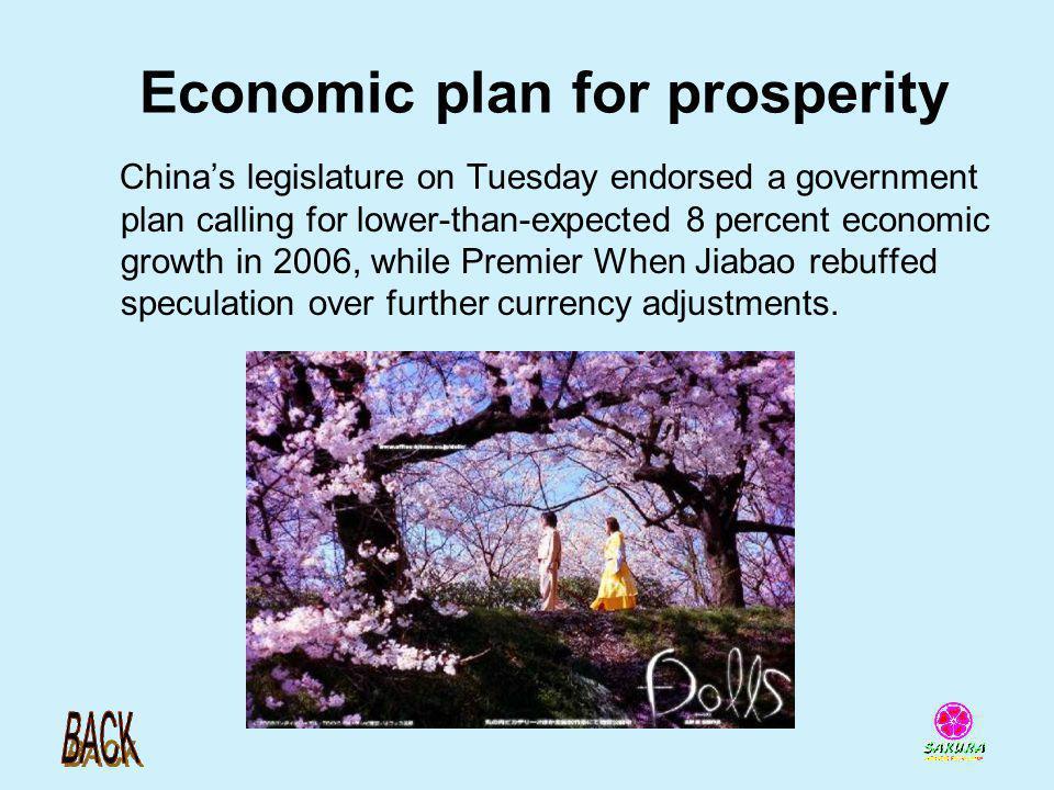Economic plan for prosperity