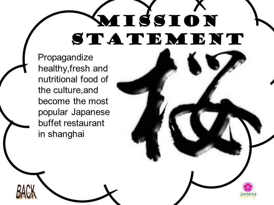 Mission Statement Propagandize healthy,fresh and nutritional food of the culture,and become the most popular Japanese buffet restaurant in shanghai.