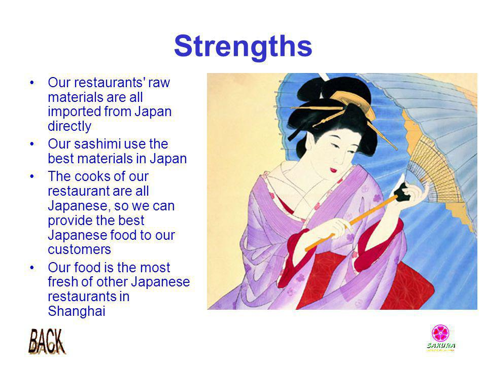 Strengths Our restaurants raw materials are all imported from Japan directly. Our sashimi use the best materials in Japan.