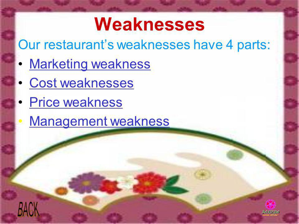Weaknesses Our restaurant's weaknesses have 4 parts: