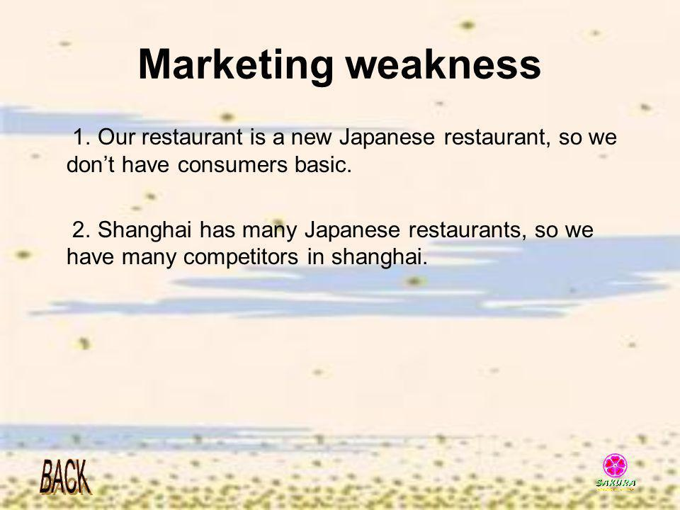 Marketing weakness 1. Our restaurant is a new Japanese restaurant, so we don't have consumers basic.