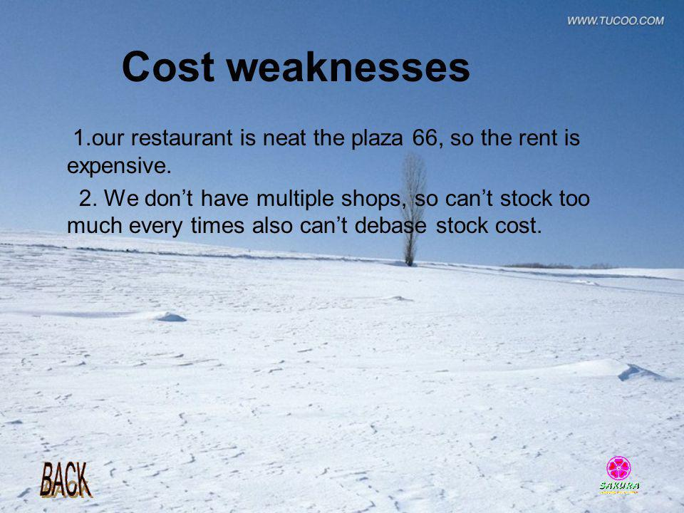 Cost weaknesses 1.our restaurant is neat the plaza 66, so the rent is expensive.