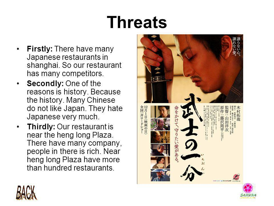 Threats Firstly: There have many Japanese restaurants in shanghai. So our restaurant has many competitors.