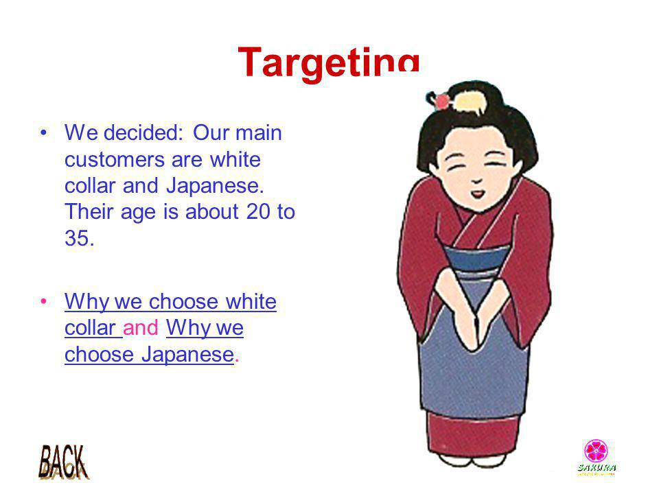 Targeting We decided: Our main customers are white collar and Japanese. Their age is about 20 to 35.
