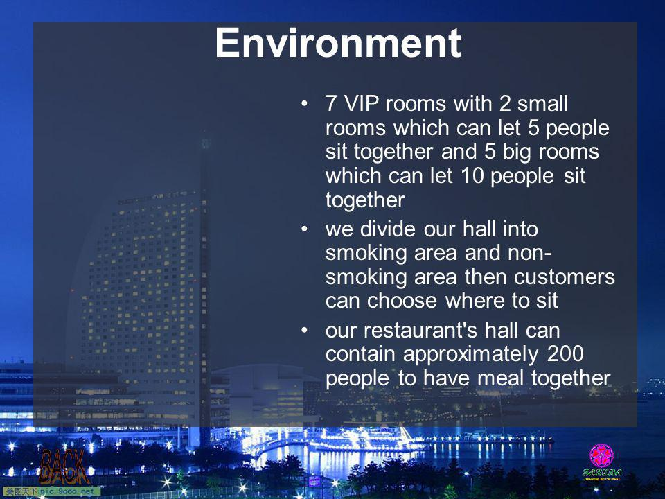 Environment 7 VIP rooms with 2 small rooms which can let 5 people sit together and 5 big rooms which can let 10 people sit together.