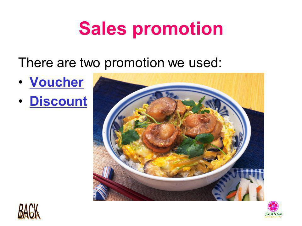 Sales promotion There are two promotion we used: Voucher Discount