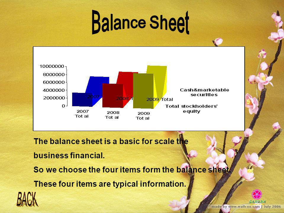 Balance Sheet The balance sheet is a basic for scale the