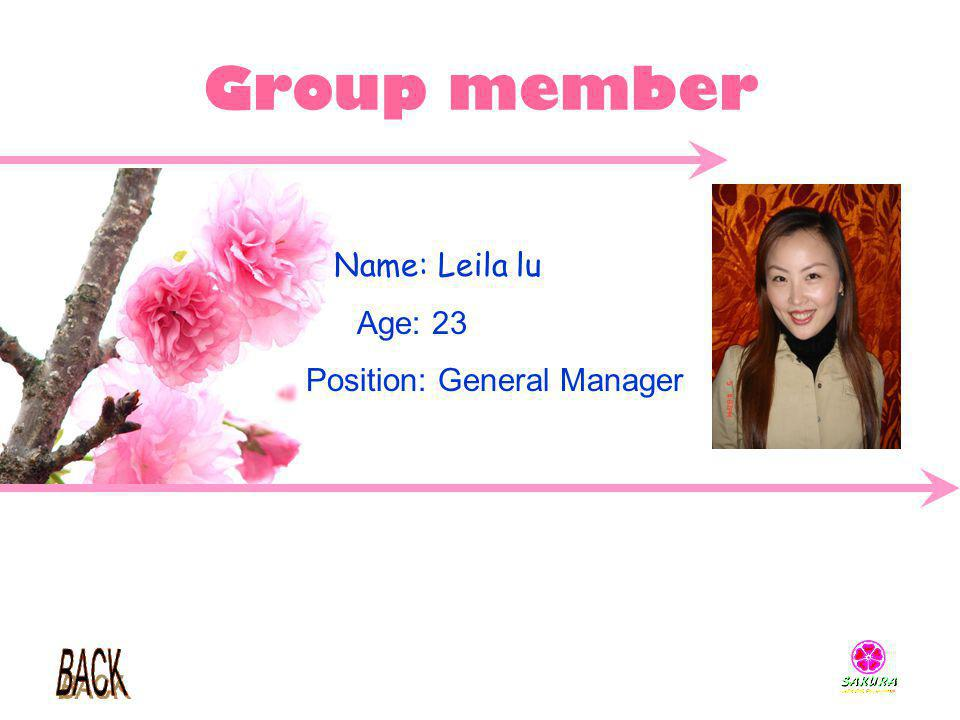 Group member Name: Leila lu Age: 23 Position: General Manager