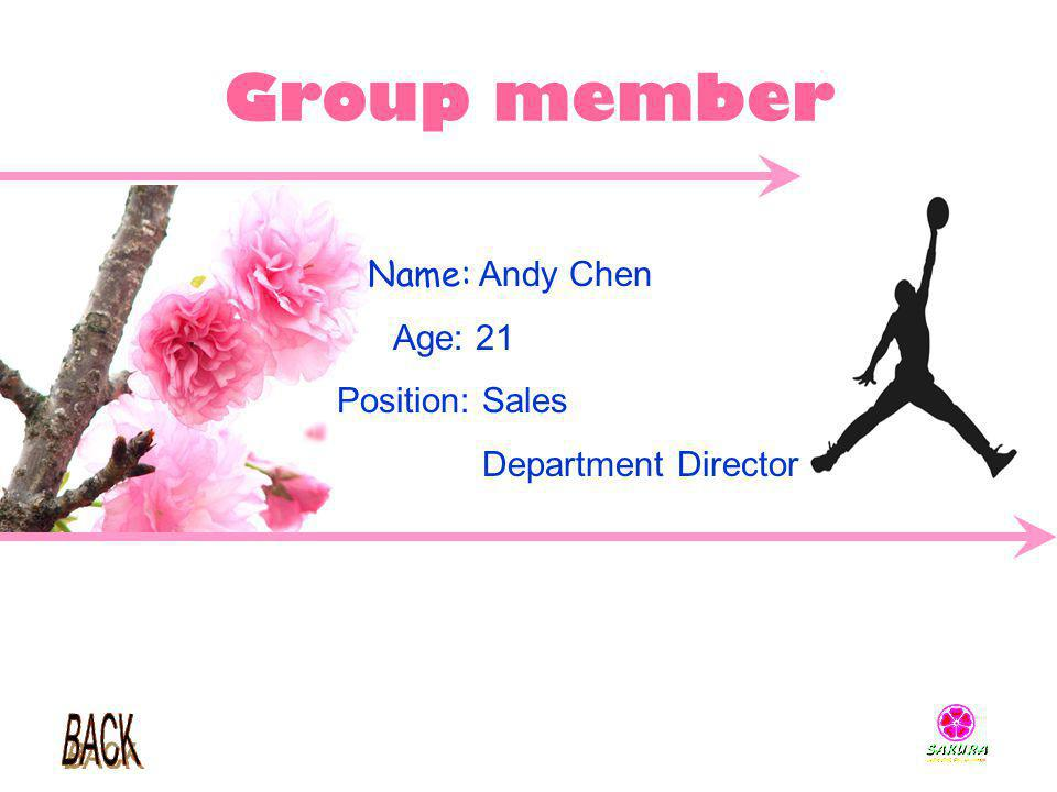 Group member Name: Andy Chen Age: 21 Position: Sales