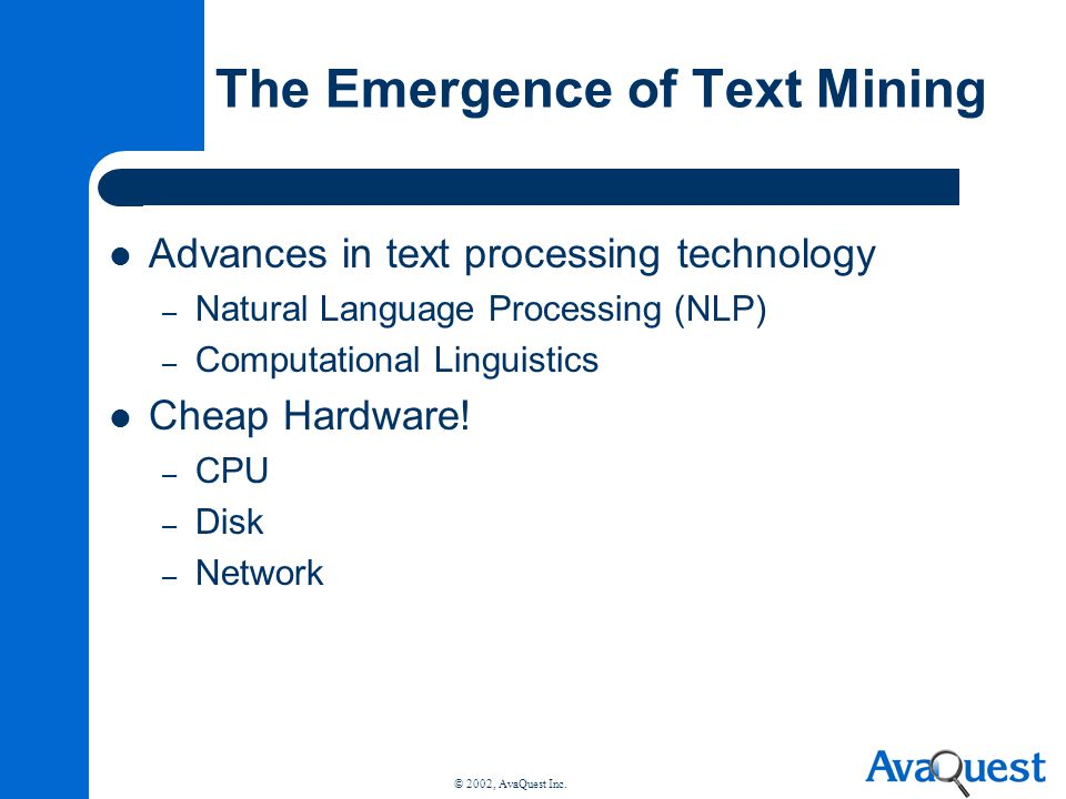 The Emergence of Text Mining