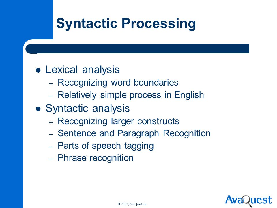 Syntactic Processing Lexical analysis Syntactic analysis