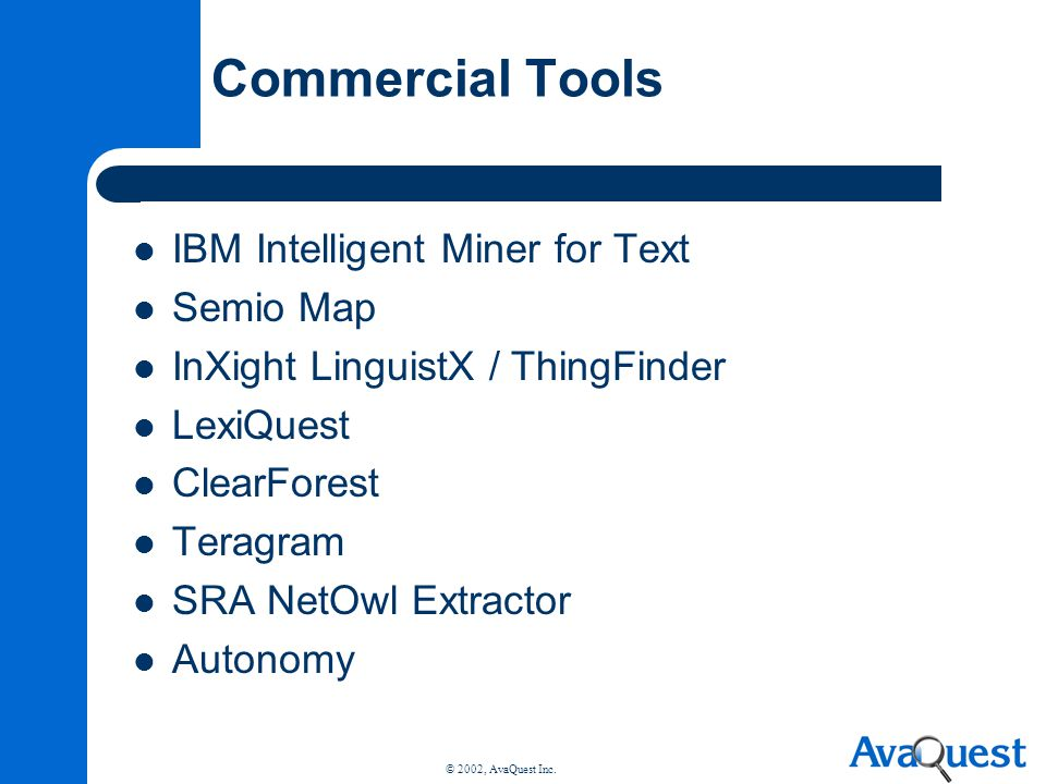 Commercial Tools IBM Intelligent Miner for Text Semio Map
