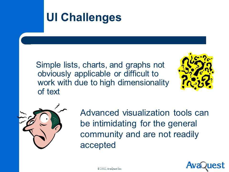 UI Challenges Simple lists, charts, and graphs not obviously applicable or difficult to work with due to high dimensionality of text.