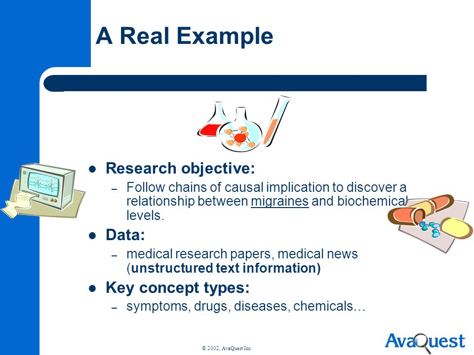 A Real Example Research objective: Data: Key concept types:
