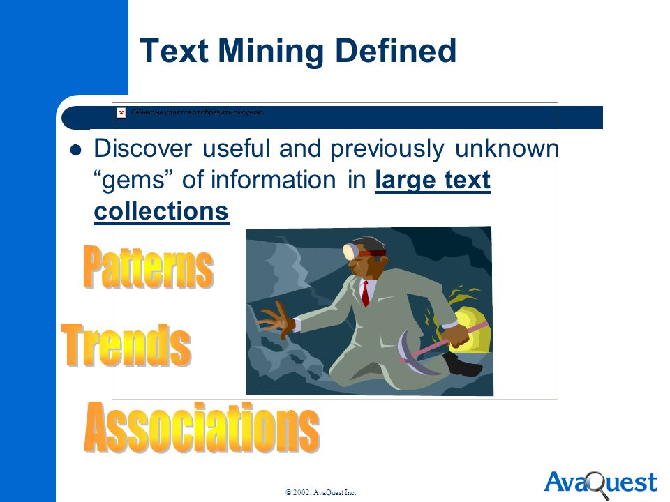 Text Mining Defined Patterns Trends Associations