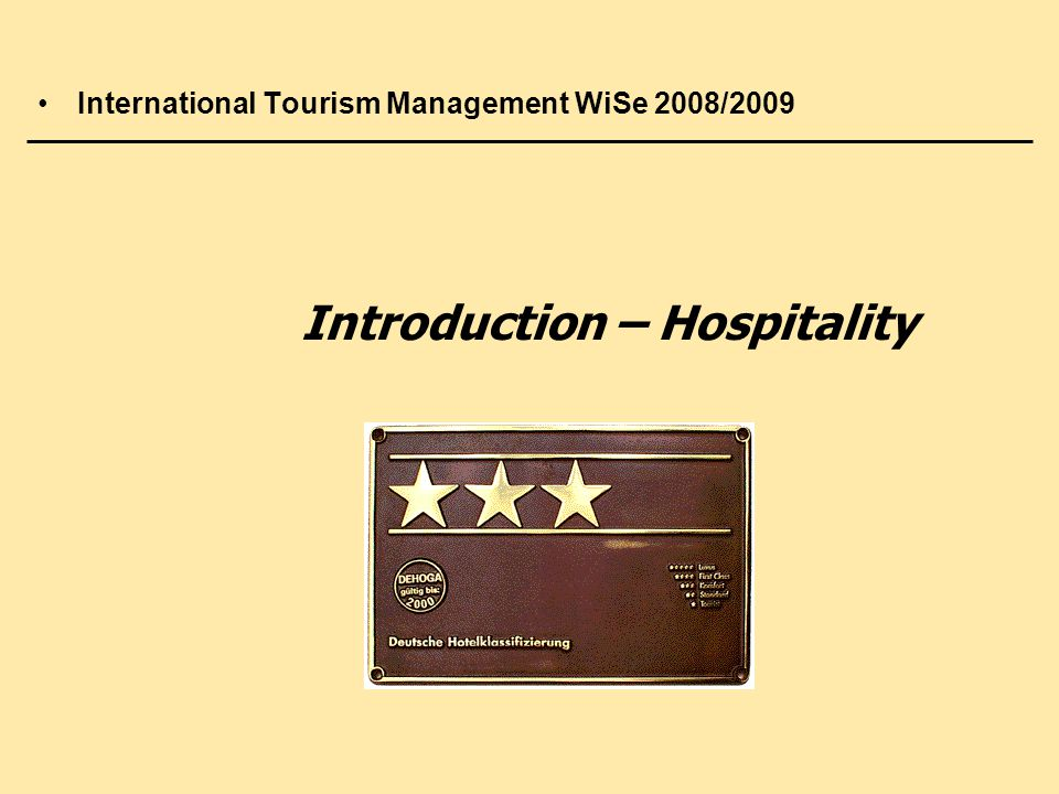 Introduction – Hospitality
