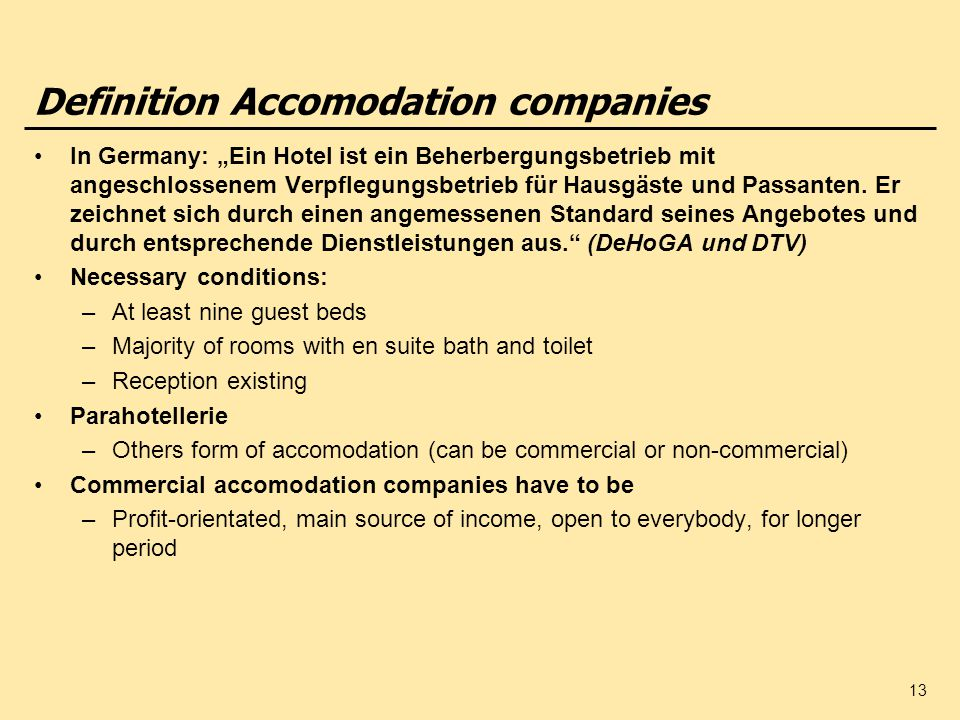 Definition Accomodation companies