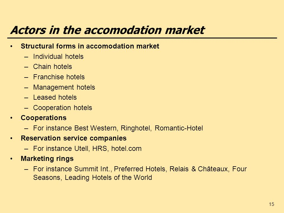 Actors in the accomodation market